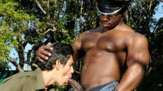 Muscled camboys outdoor show