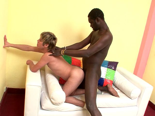 Orgiastic blonde amateur gay Cristian getting arse nailed doggie by black Cristian
