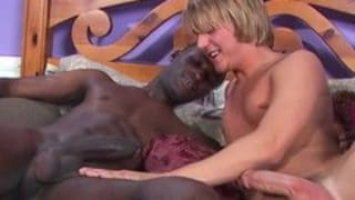 18 yr old white guy riding a black cock