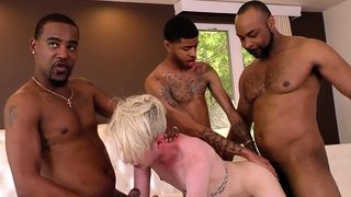 Black guys sharing a white boi's ass