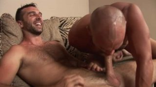 Str8 competitive swimmer with huge cock gives his first blowjob to muscular Latino.