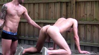 Blond 18yo teasing black BDSM and rough outdoor spanking