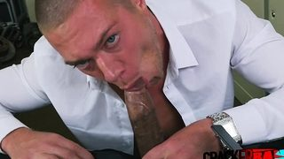 GAY hunk bottoms for black TOP agent in his office
