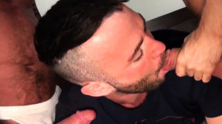 Jock getting ass fucked in bear threesome