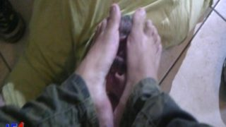 slave must lick the feet of his young master