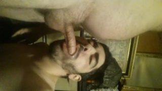 arab boy deepthroats his dad's friend and get facial.