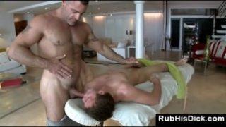 Gay bear massage guy sucks straight guy