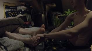 Teen Muscle Twink -Flint Wolf- Rubbing Trucker Dad's Feet